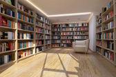 Bookshelf in library — Stock Photo