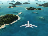 Aircraft flies over a tropical islands — Stock Photo