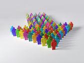 Arrow of multicolor people — Stock Photo