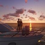 Romantic couple on a pleasure boat — Stock Photo #41230887
