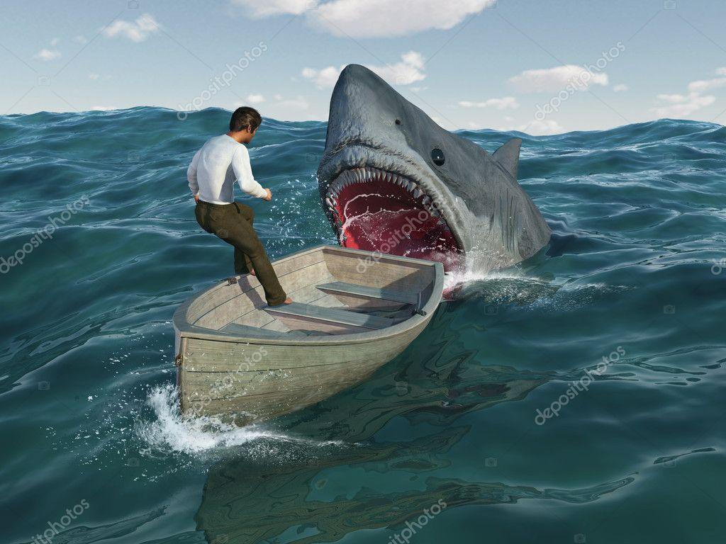 нападение белой акулы на лодку
