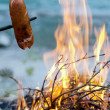 Grill sausage at the campfire - Stock Photo