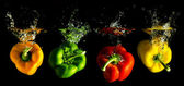 Four several coloured paprika falling into water — Foto Stock
