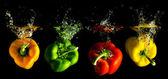 Vier verschillende gekleurde paprika vallen in water — Stockfoto