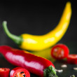 Coloured chillis — Foto Stock