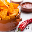 Tortilla chips with two different dips — Stok fotoğraf