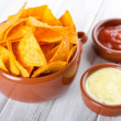 Tortilla chips with two different dips — Stock Photo #16297945