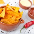 Tortilla chips with two different dips — Стоковая фотография