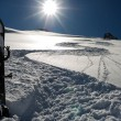Snow track goes downhill — Stockfoto