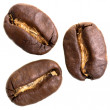 Three espresso beans before white background — Foto de Stock