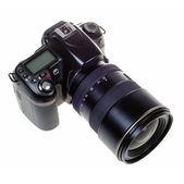 DSLR digital single lens reflex camera isolated — Stock Photo