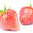 Two strawberries isolated before white — Stockfoto