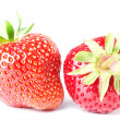Two strawberries isolated before white — Foto de Stock
