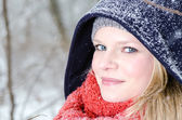 Bere ve atkı kış ahşap portre sarışın bayan — Stok fotoğraf