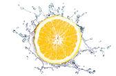 Oranje splash geïsoleerd — Stockfoto