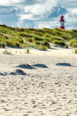 Lighthouse behind beach and dunes — Stock Photo