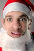 Sceptical, weird Santa Claus — Stock Photo
