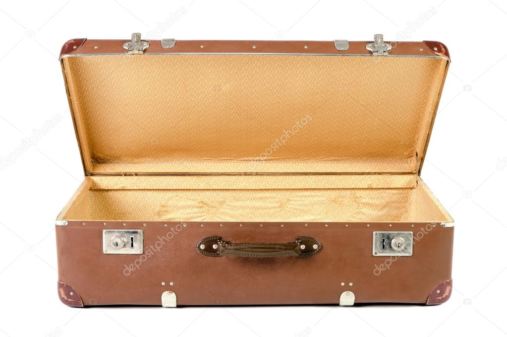 alte koffer offen vor wei em hintergrund stockfoto rrrneumi 36247233. Black Bedroom Furniture Sets. Home Design Ideas
