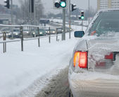 Car driwing in winter — Stock Photo