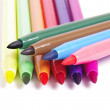 Multicolored Felt Tip Pens on White Background  — Stock Photo