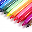 Multicolored Felt Tip Pens on White Background — Foto de Stock