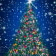 Stock Photo: Sparkly Christmas Tree on Blue Starry Night Sky
