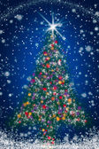 Sparkly Christmas Tree on Blue Starry Night Sky — Stock Photo