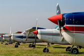Cessna 152s Tied Down and Parked at Private Airfield — Stock Photo