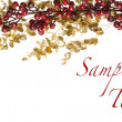 Stock Photo: Sparkly Red Berries on Golden Leaves Isolated Border
