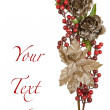 Stock Photo: Sparkly Pewter Flowers Shiny Red Berries and Gold Leaves