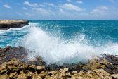 Waves Crashing on Rocky Coastline Devil's Bridge — Photo