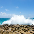 Stock Photo: Waves Crashing Over Limestone Ocean Coastline