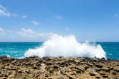 Waves Crashing Over Limestone Ocean Coastline — Stock Photo