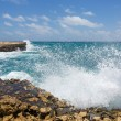 Waves Crashing on Rocks at Devil's Bridge Antigua — Stock Photo