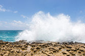 Waves Crashing Over Limestone Coastline — Stock Photo