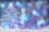 Beautiful Christmas Tree Snow Background Blue Purple — Stock Photo