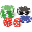 Poker chips and dices — Stock Photo