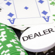 Set of poker chips, cards and dealer button — Stock Photo #26380701