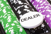 Set of poker chips and dealer button — 图库照片
