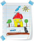 Child like drawing with kid school and sun — Stock Vector