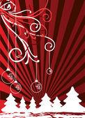 Christmas themes with bulbs and snowflakes — Stock Vector