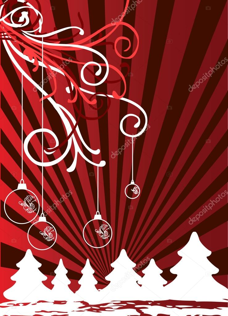 Christmas themes with bulbs and snowflakes vector  Stock Vector #15403867