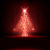 Vector electronic christmas tree — Stock Vector