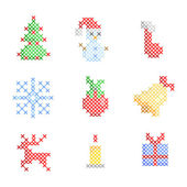 Set of Christmas embroidery — Stock Vector