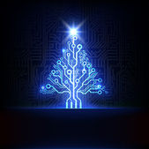 Technology Christmas tree — Stock Vector