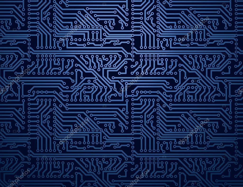 Tree Design On Circuit Board Wallpaper Vector Image: Vektor Blaue Platine Hintergrund
