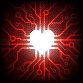 Vettore elettronico collegato cuore — Vettoriale Stock