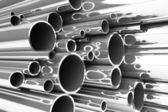 Stack of steel tubing, stainless tubes — Stock Photo