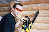 Tenencia workier pistola de espuma — Foto de Stock