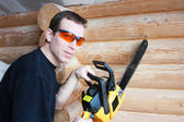 Workier holding gun foam — Stock Photo